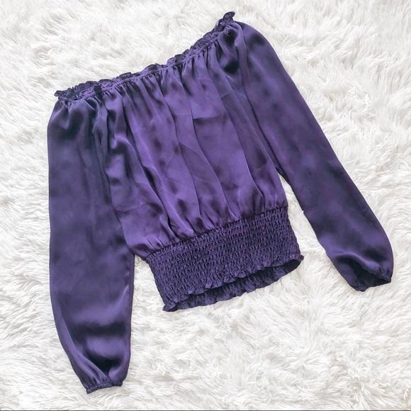 MICHAEL Michael Kors Tops - Michael Kors Deep Purple Off the Shoulder Top